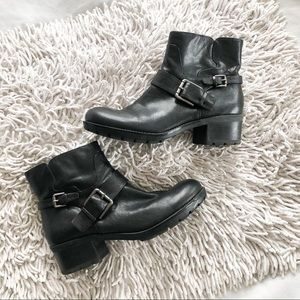 NINE WEST black leather moto boots size 8.5